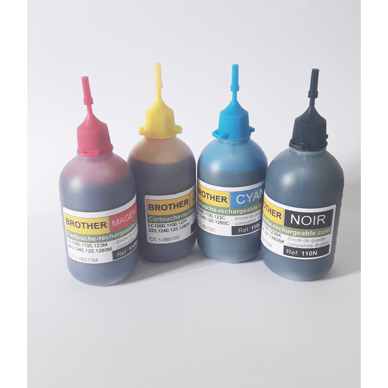 4 Flacons 100ml compatibles Brother